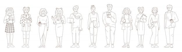 Молодые люди студенческого набора. линия черная, белая. наброски группы мужчина женщина повседневная одежда ноутбук, смартфон