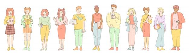 Молодые люди студенческого набора. линия мультяшном стиле. наброски группы мужской женской повседневной одежды, ноутбук