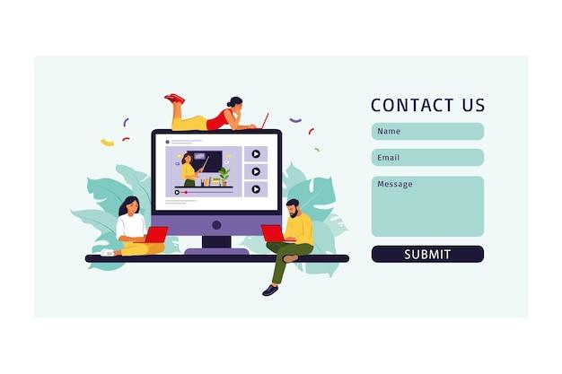 Молодые люди учатся в онлайн-школе. свяжитесь с нами через форму для интернета. векторная иллюстрация. плоский стиль