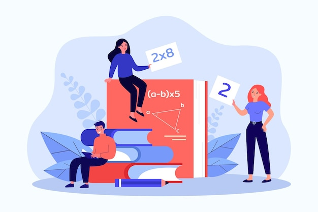 Young people studying mathematics flat vector illustration. tiny women and man sitting on giant books, textbooks on algebra, geometry, mathematical analysis. mathematics, science, education concept