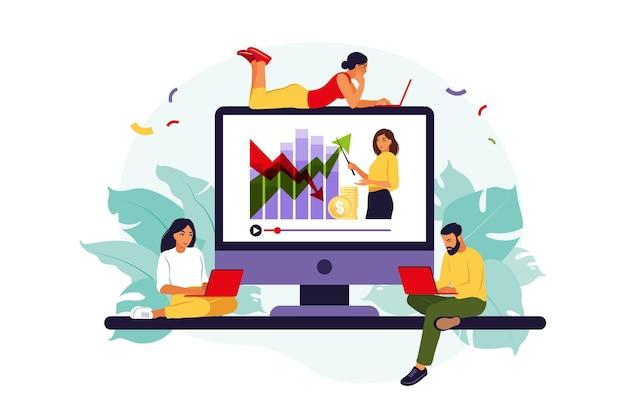 온라인 학교를 공부하는 젊은 사람들. 삽화. 플랫 스타일