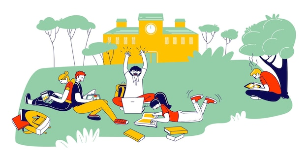 Young people studying together outdoors sitting on field at college yard reading books and working on laptops. cartoon flat illustration