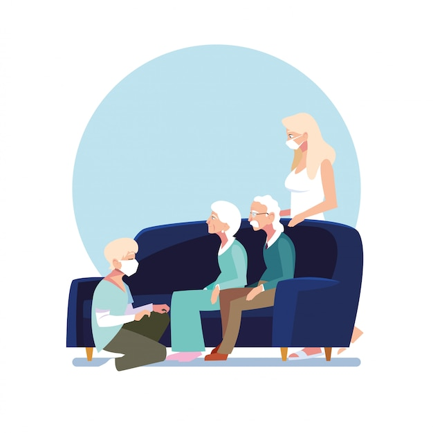 Young people take care of elderly