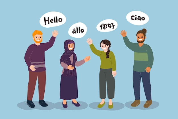 Young people talking in different languages collection