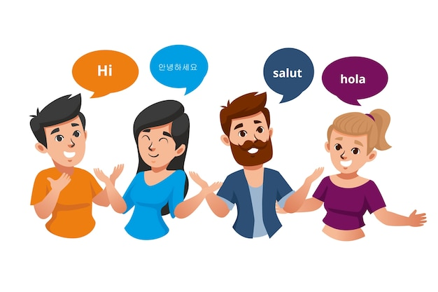 Young people talking in different languages group