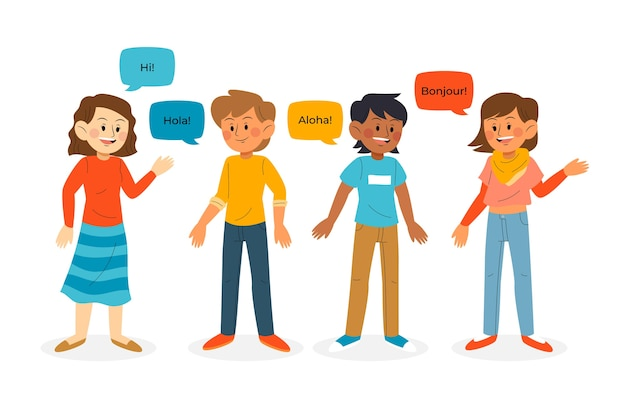 Young people talking in different languages illustration pack