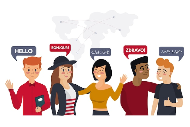 Young people talking in different languages illustrations set