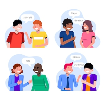 Young people talking in different languages set