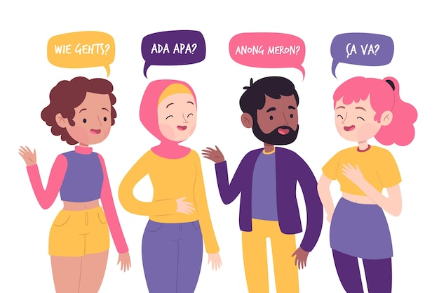 Young people talking in different languages