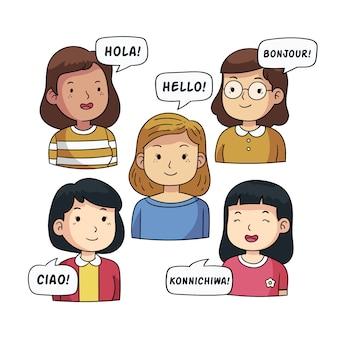 Молодые люди говорят на разных языках иллюстрации коллекции