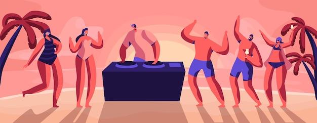 Молодые люди, подростки танцуют и пьют коктейли на берегу моря в летнее время. мультфильм плоский рисунок
