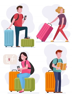 Young people travel with luggage set
