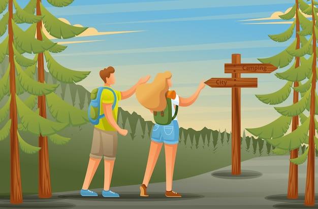 젊은이들은 캠핑, 포인터 형태로 숲 탐색을 사용합니다.