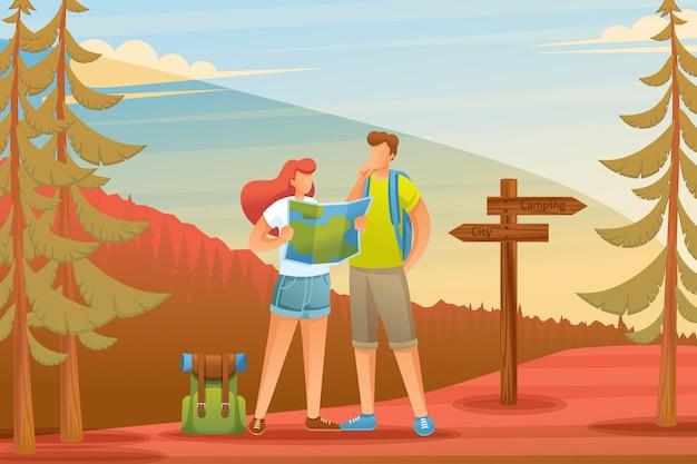 Молодые люди используют карту в лесу, в кемпинге.