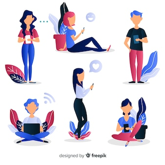 Young people using technological devices. character design set