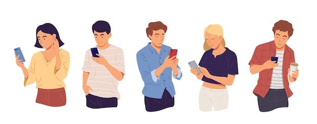 Молодые люди, использующие гаджет, смартфон, мобильный телефон технологии в концепции связи.
