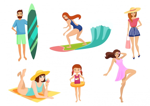 Young people and on vacation beach set. summer holidays set. beach, relax, enjoy and sport activities near ocean or sea.