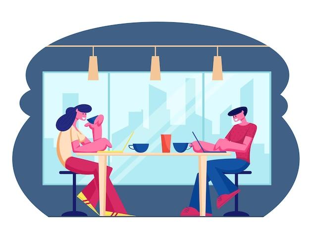 카페 및 환대 개념을 방문하는 젊은 사람들. 만화 평면 그림