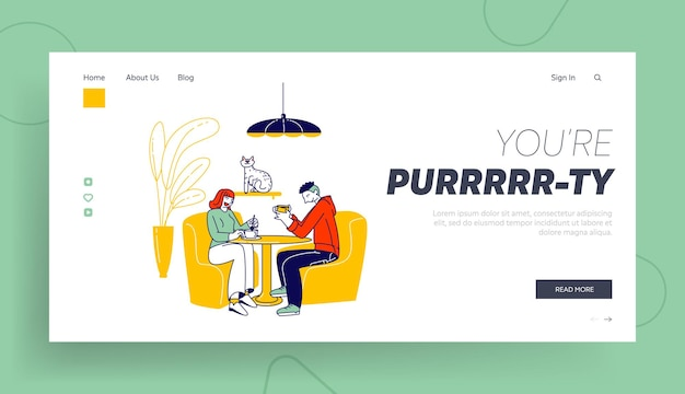Young people visiting cat cafe, hospitality landing page template.