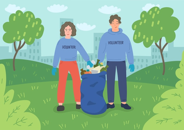 Young people volunteers cleaning city park