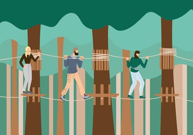 吊り橋で未加工で歩く若者たち。
