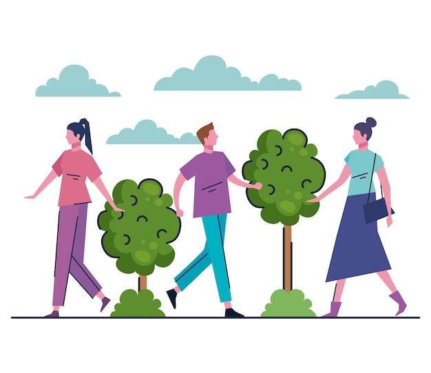 공원 아바타 캐릭터 일러스트에서 걷는 젊은 사람들