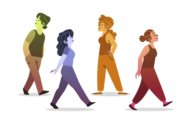 Young people walking on together