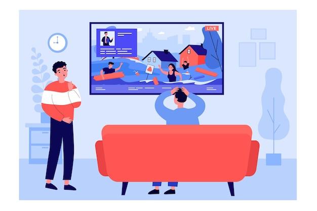 Молодые люди смотрят репортаж о чс. плоские векторные иллюстрации. мужчины смотрят телевизор, прямая трансляция с места происшествия с ранеными на экране. концепция наводнения, чрезвычайной ситуации, стихийного бедствия