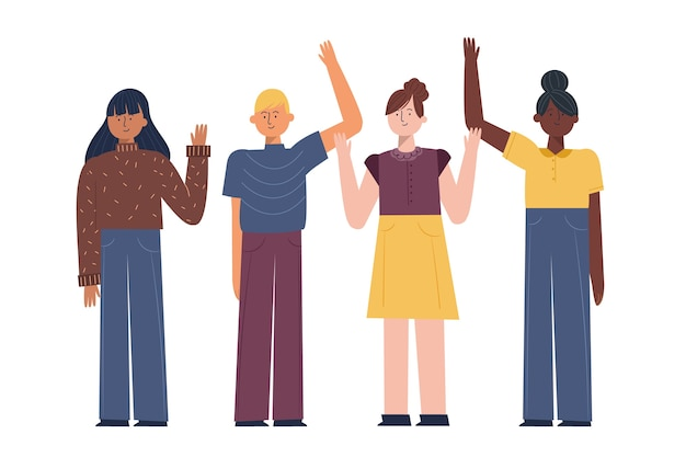 Young people waving hand collection
