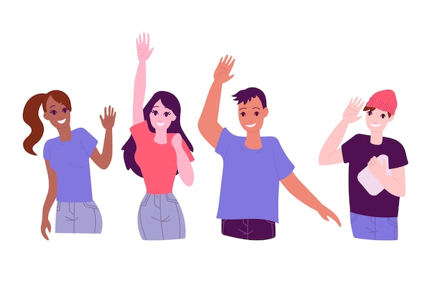 Young people waving hand concept