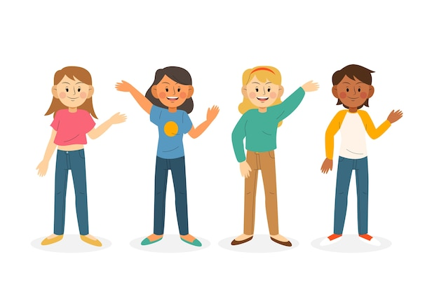 Young people waving hand illustration collection