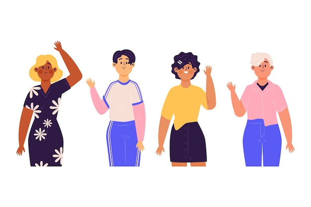 Young people waving hand illustration concept