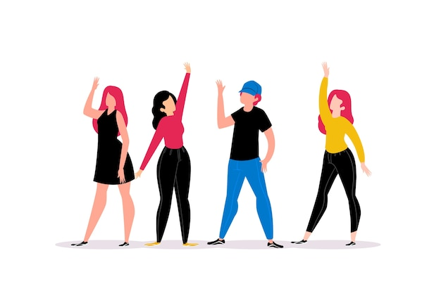Young people waving hand illustration design