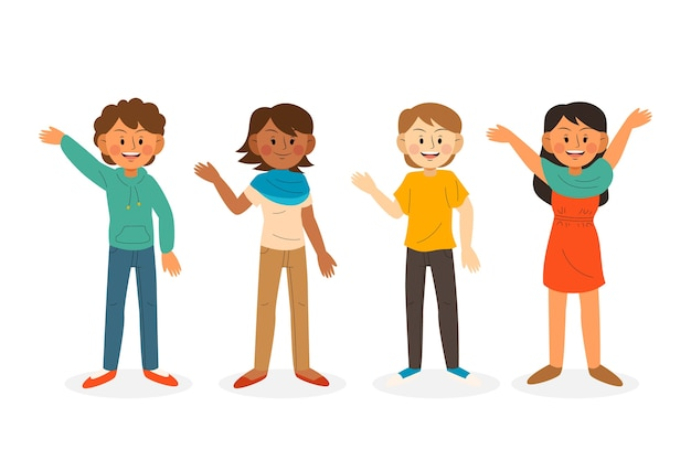 Young people waving hand illustration set