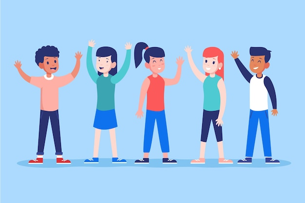 Young people waving hand illustration