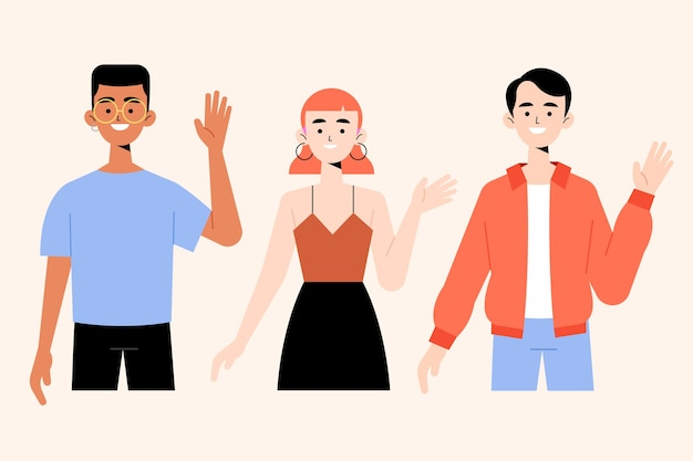 Young people waving hand illustrations collection