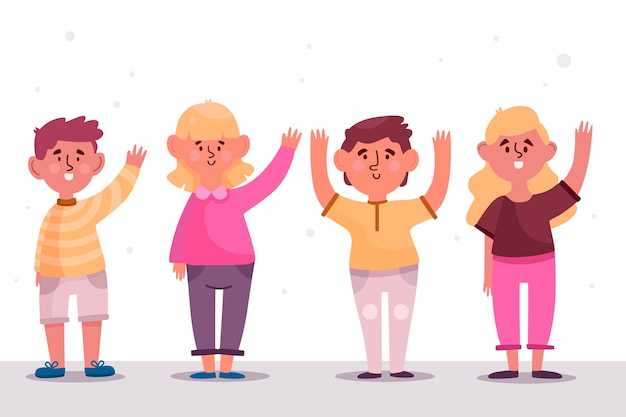Young people waving hand illustrations pack