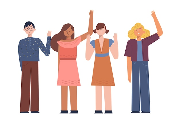 Young people waving hand pack