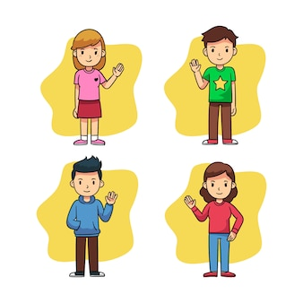 Young people waving hand set