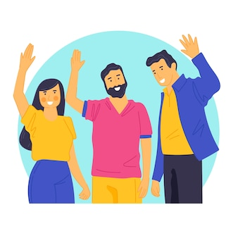 Young people waving hand