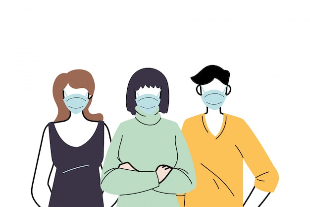 Young people wearing face masks to prevent virus