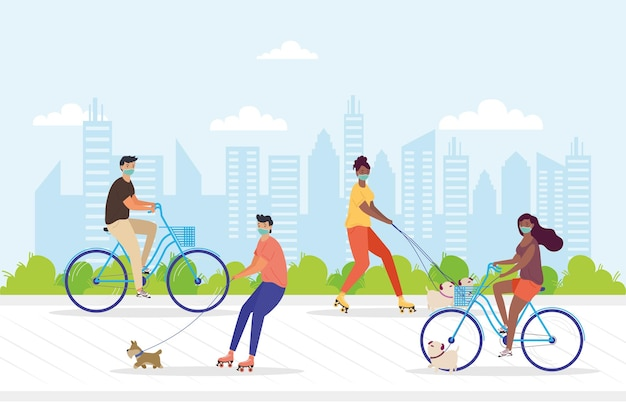 Young people wearing medical masks in bicycles and skates with dogs in the park illustration design