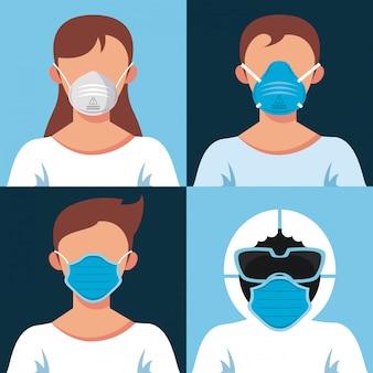 医療マスク文字を着ている若者