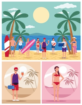 Young people wearing swimsuits on the beach characters scenes