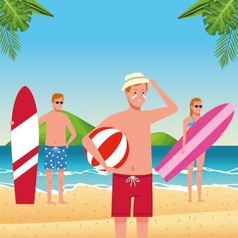 Молодые люди в купальниках на пляже персонажей