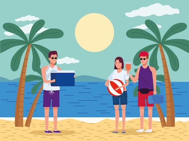 Молодые люди в купальниках на пляжных персонажах сцены