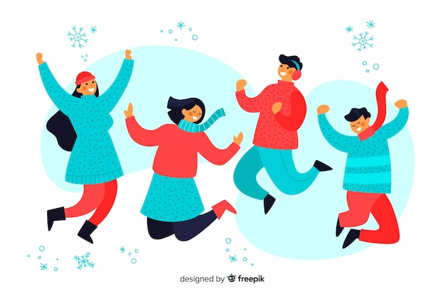 Young people wearing winter clothes jumping illustration