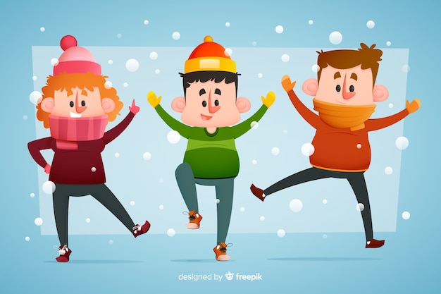 Young people wearing winter clothes jumping in the snow