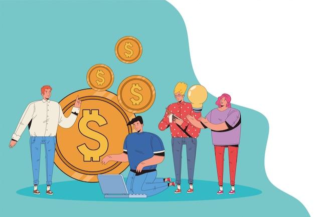 Молодые люди с финансовым дизайном иллюстрации значков дела