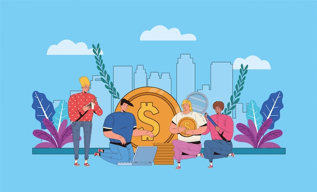 Young people with financial business icons illustration design